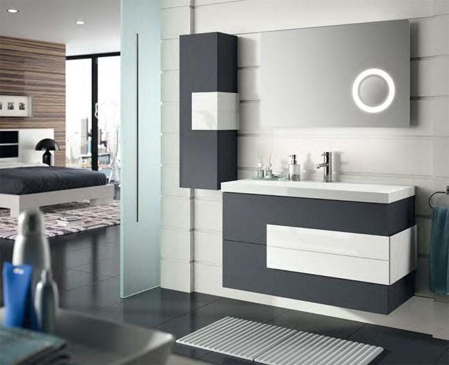 Шкафове за баня с плот технически камък